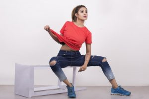 Solid Round Neck Tomato Red Tshirt for Women