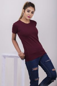Wine Color Round Neck Tshirt for Women - Slim Fit