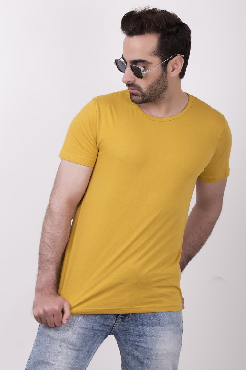 Solid Mustard Yellow Round Neck T-shirt for Men - Modern Fit